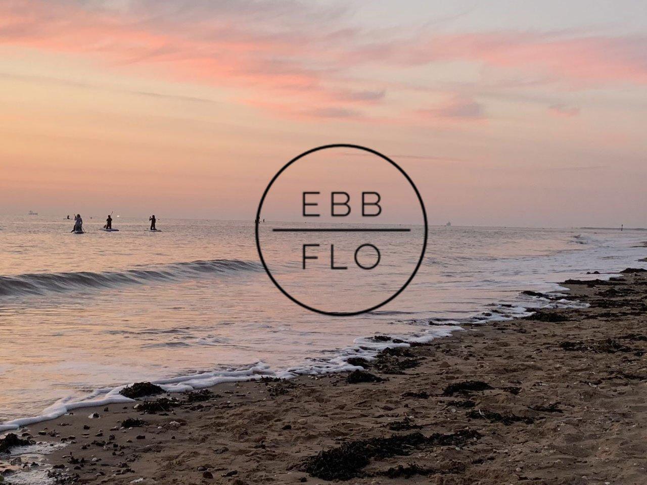 cleethorpes beach with ebb flow logo